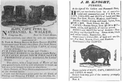 "Two 1834 newspaper ads for hats and fur products, published in the Portsmouth Journal of Literature and Politics newspaper (Portsmouth, New Hampshire), 22 November 1834. Read more on the GenealogyBank blog: ""How to Date Old Photos of Our Ancestors with Early Fashion Trends."""