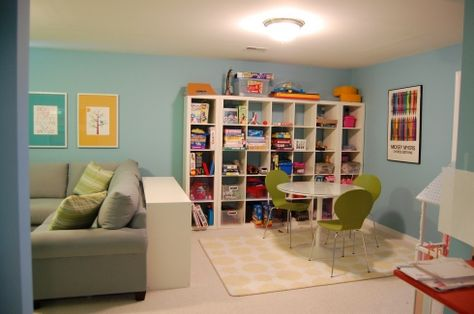 shared family room and playroom-love the idea of shelves & table but don't know if we have room