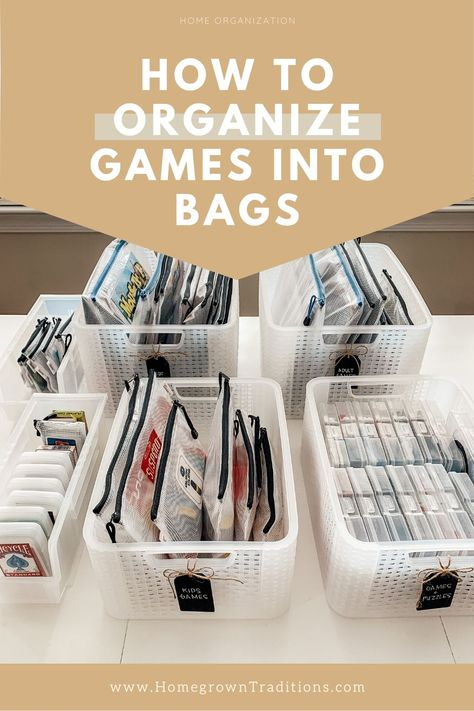 How to organize board games, card games and puzzles into zipper bags - - Overhaul your game closet by putting all your games into zipper bags. It saves space, protects the games, and looks amazing.