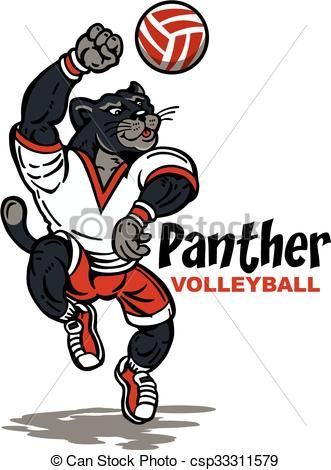 Vectors Illustration Of Panther Volleyball Cute Panther Volleyball Team Design Csp33311579 Search Clipart Illustrati Volleyball Volleyball Team Panther