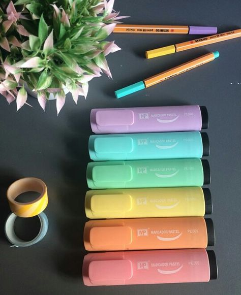 5pc new office multicolor power line free ink high-lighter pen