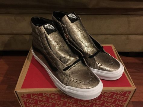 9528f16100f271 Vans Sk8 Hi Slim Metallic Leather Bronze Black Size 7 NIB Authentic OTW CA   VANS  Skateboarding