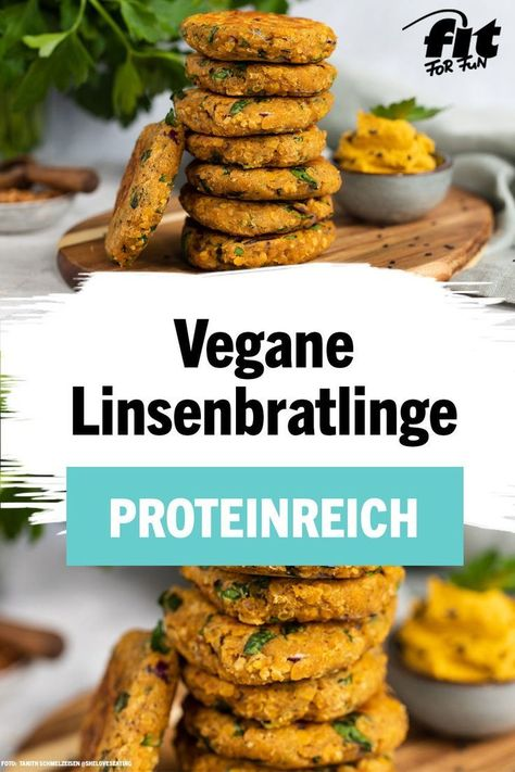 Diese Linsenbratlinge sind nicht nur etwas für alle, die auf eine proteinreiche Ernährung achten, sondern auch die ganze Familie oder ein Grill-Buffet. Sie sind vegan, laktosefrei, nussfrei und es besteht die Option für eine glutenfreie Variante. Du möchtest dieses leckere Fingerfood ausprobieren? Dann findest du hier das ganze Rezept für die Linsenbratlinge von Bloggerin Tanith. #Linsen #veganeRezepte #Fingerfood #gesundeSnacks #high protein vegan recipe Rezept für vegane Linsenbratlinge: Prote