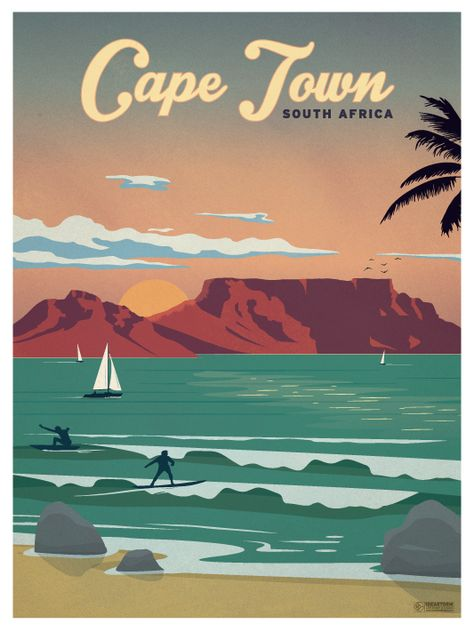 Cape Town Poster by IdeaStorm Studios Available for sale at ideastorm. - Cape Town Poster by IdeaStorm Studios Available for sale at ideastorm. Poster Art, Kunst Poster, Poster Prints, Art Print, Cape Town South Africa, South Africa Art, Arte Pop, Art Graphique, Vintage Travel Posters