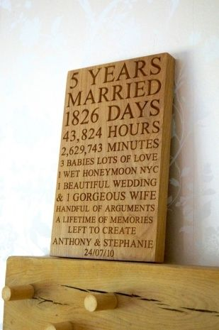 Five Year Wedding Anniversary Gift Ideas For Him 5th Wedding Anniversary Gift Anniversary Gifts Wedding Anniversary Plaques