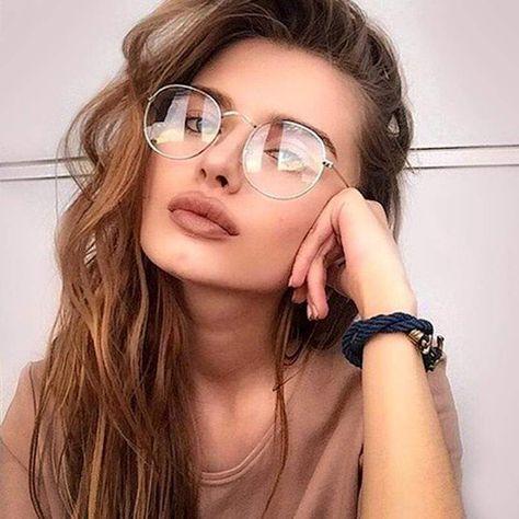 Womens Glasses Frames, Clear Glasses Frames Women, Vintage Glasses Frames, Fake Glasses, Glasses For Round Faces, Super Glasses, Circle Glasses, Glasses Style, Computer Glasses