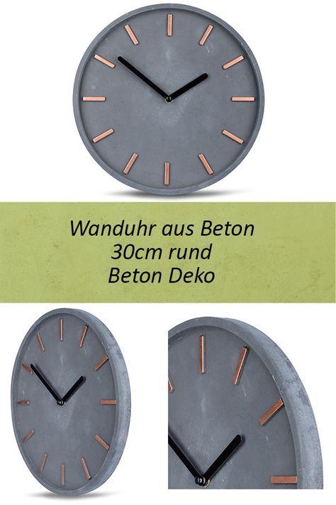 Hochwertige Beton Uhr Wanduhr 30cm Grau Kupfer Uhrzeit Modern
