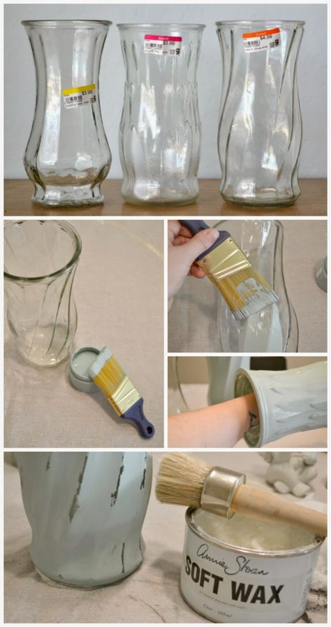 Painted vases - Quick & Easy Chalk Paint® Vase perfect for Mother's Day via Green Table Gifts Mason Jar Crafts, Bottle Crafts, Pickle Jar Crafts, Bottles And Jars, Glass Bottles, Perfume Bottles, Painted Glass Vases, Chalk Paint Projects, Paint Ideas