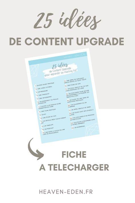 Fiche – 25 idées de Content Upgrade pour agrandir sa mailing list