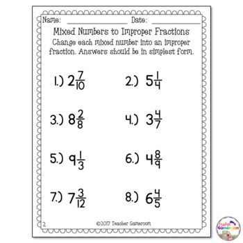 Mixed Numbers To Improper Fractions Worksheet Improper Fractions Fractions Worksheets Fractions