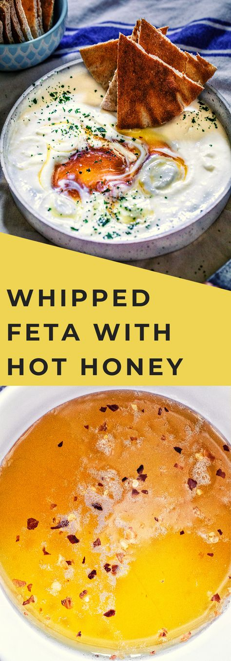 Whipped Feta and Goat Cheese with Hot Honey - My Kitchen Little