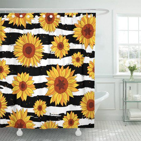 Pknmt Yellow Of Sunflowers On Striped Black And White Summer