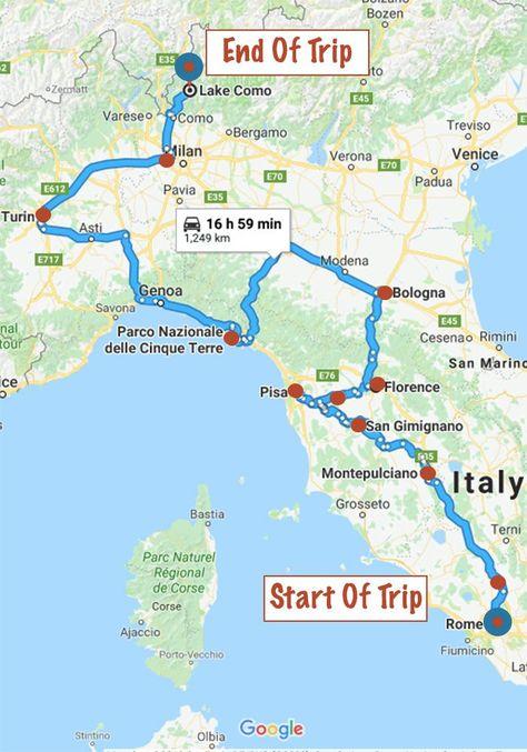 Pin Von Silke 3 Auf Italy Amore Mio Road Trip Karte