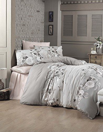 Dose Of Modern Hevin Satin Super King Quilt Cover Set Eu It 121vct53442 White Grey Powder