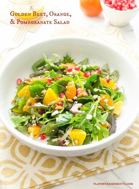 Golden Beet, Orange, and Pomegranate Salad is fresh, flavorful salad tossed in a white balsamic orange vinaigrette. Healthy never tasted so good!
