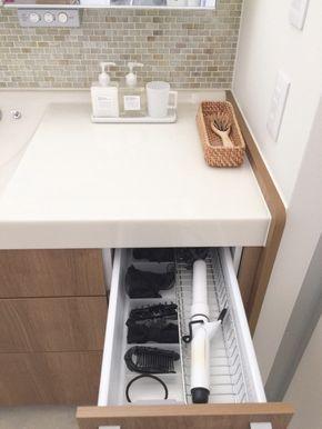 ヘアアイロンとドライヤーのオススメ収納方法 インテリア 収納 洗面所 収納 バスルームの整理整頓
