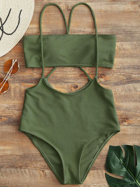 Bandeau Top and High Waisted Slip Bikini Bottoms  ARMY GREEN BLACK CAMEL RED WHITE YELLOW , #spon, #Slip, #Bikini, #Bottoms, #Waisted, #Bandeau #Ad