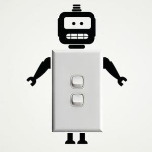 Noir commutateur autocollants stickers muraux robot -1081