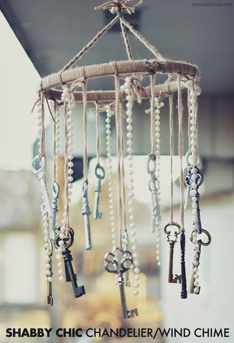 Shabby Chic Chandelier/Wind Chime, I would get a wire and wrap it around. I'd also use something other than hemp twine. The pearls and keys are cute.