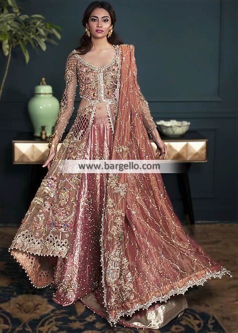 D6257 - Pale Copper Aster Look stunning bride with this awesome wedding Anarkali suit
