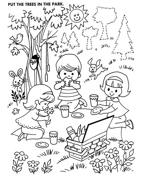 At The Park Colouring Pages Coloring Home Activity Sheets