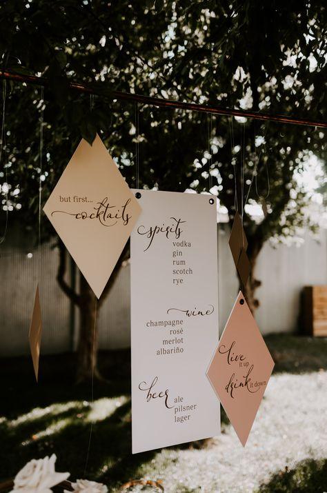 gold and coral wedding, wedding bar signs, bar signage ideas, geometric bar signage, diamond bar sign, wedding signage, gold and coral wedding decor
