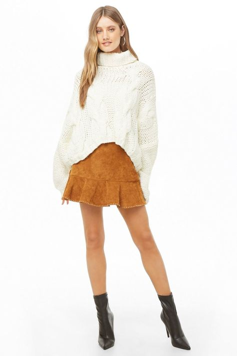Studded Faux Suede Skirt