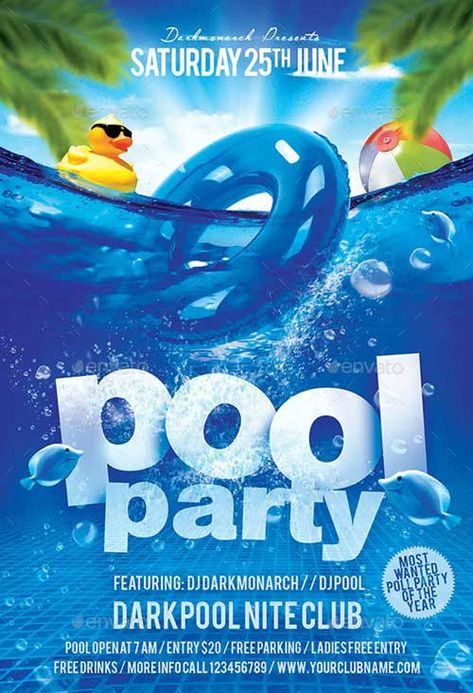 Download the Saturday Pool Party Flyer Template | FFFLYER