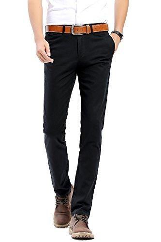 445b3b56cc INFLATION Men's Stretchy Slim Fit Casual Pants,100% Cotton Flat ...