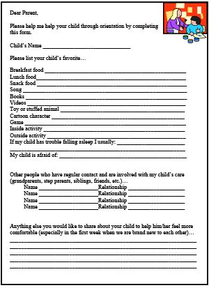 Pa Survey Printable For Child Care Childcare Daycare Schedule Forms Contract
