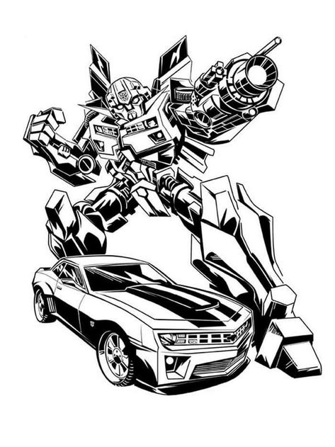 Bumblebee And Car Transformers Coloring Pages In 2020 Transformers Coloring Pages Cars Coloring Pages Bee Coloring Pages