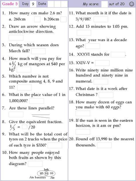 Mental Math Grade 5 Day 9 | Mental Math | Pinterest