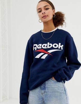 probabilidad Hacer la cama Ajustarse  Image 1 of Reebok Classics navy vector logo sweatshirt | Sudadera  estampada, Suéter azul marino, Sudaderas