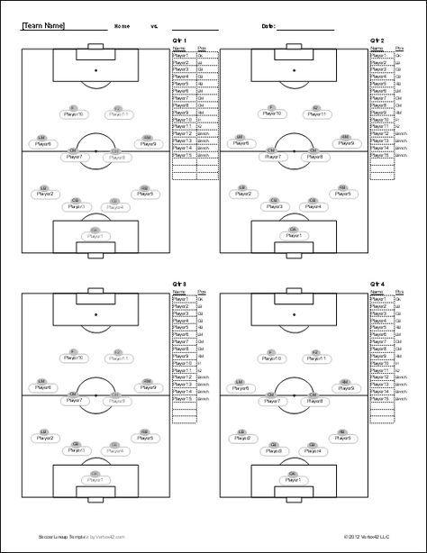 Soccer Player Set Up Sheets Soccer Lineup Sheet Screenshot