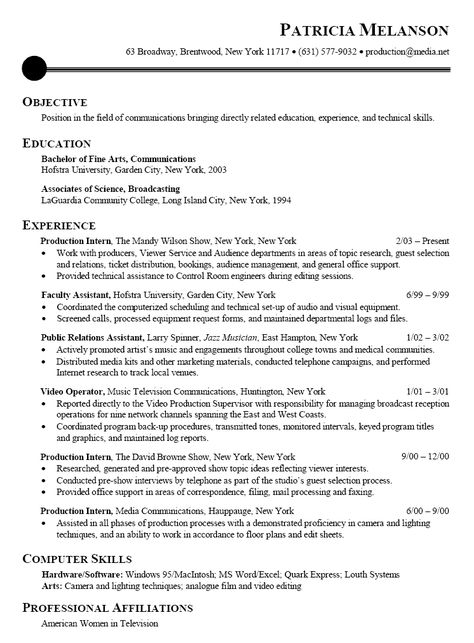 Professional Resume Sample -    wwwresumecareerinfo - professional actors resume