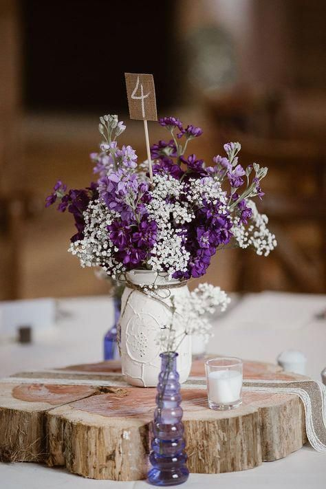 Painted Mason Jars Adorable Love The Lavender Perfect For A Wedding Day Center Flower Centerpieces Wedding Wedding Centerpieces Diy Purple And White Flowers