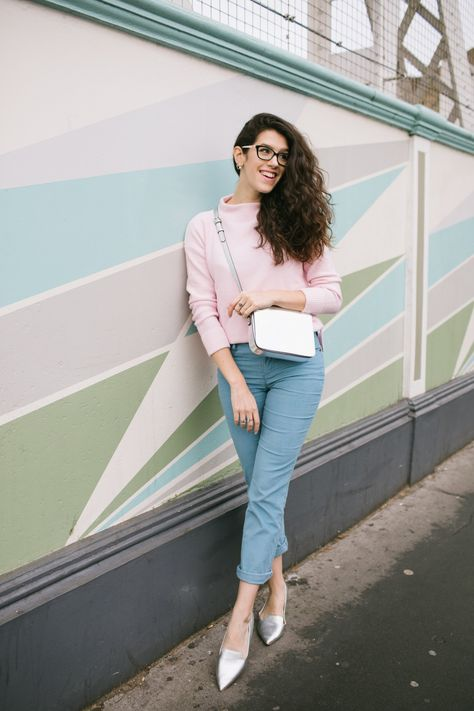 07dfe7733d97 Baby blue and pastel pink outfit for spring by London blogger Lucy from  ShinyThoughts