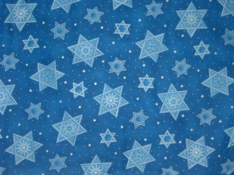 Jewish Fabric Stars of Light Blue