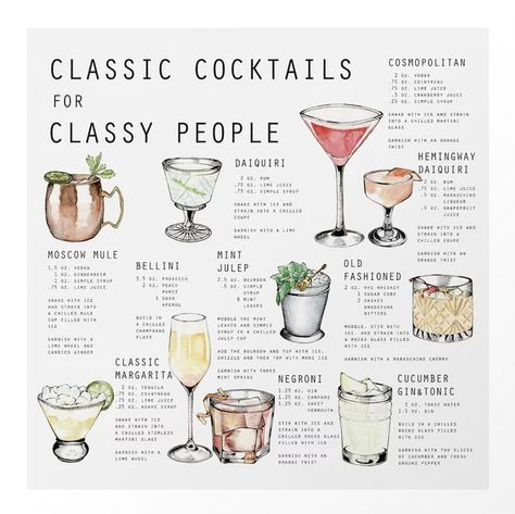 CLASSIC COCKTAILS FOR CLASSY PEOPLE Art Print by STINE NYGÅRD - Get this trendy poster for your livingroom at Society6