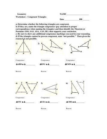 More Congruent Triangles Worksheet Answers Quiz Worksheet Sas Asa