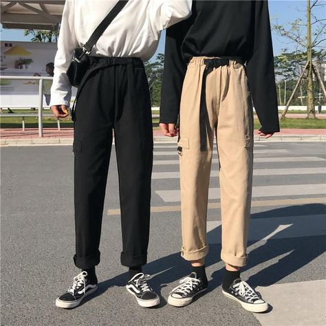 Pants Women 2019 Retro Solid Colour High Drawstring Waist Long Trousers Womens Simple All-match Korean Style Casual Loose Chic