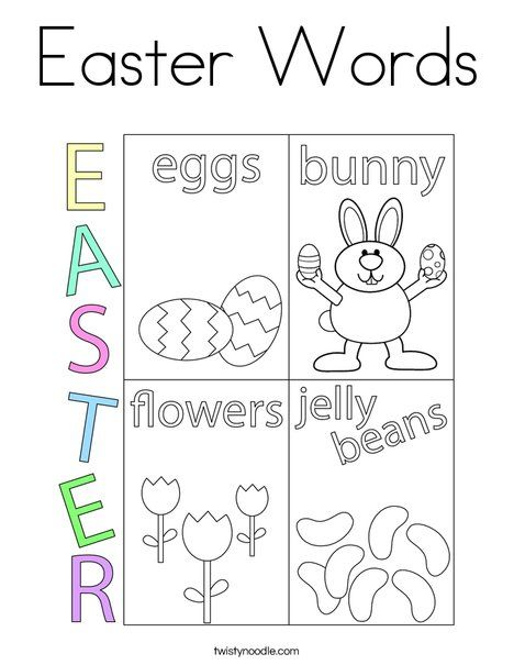 Easter Words Coloring Page Twisty Noodle Easter Coloring Pages Coloring Pages Holiday Lettering
