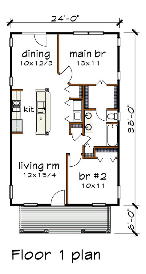 Bungalow Style House Plan 75517 with 2 Bed , 1 Bath