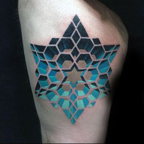 Blue Star Optical Illusion Pattern Tattoo On Mans Thigh