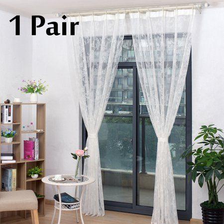 2pcs Transparent Lace Curtain Tulle Window Curtains Drapes Home