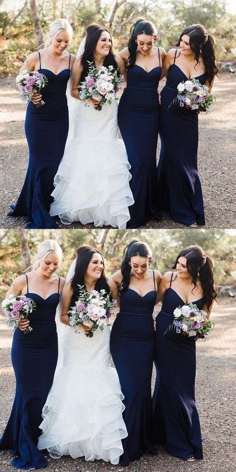 Elegant Prom Dresses, Spaghetti Straps Mermaid Long Navy Blue Bridesmaid Dress Shop for La Femme prom dresses. Elegant long designer gowns, sexy cocktail dresses, short semi-formal dresses, and party dresses.