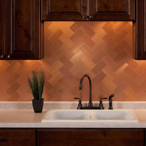 In Stock Ships Within 48 Hourspeel And Stick Metal Tiles In Brushed Copper With Short Grain Featuring Warm Cher Metal Tile Diy Backsplash Metallic Backsplash