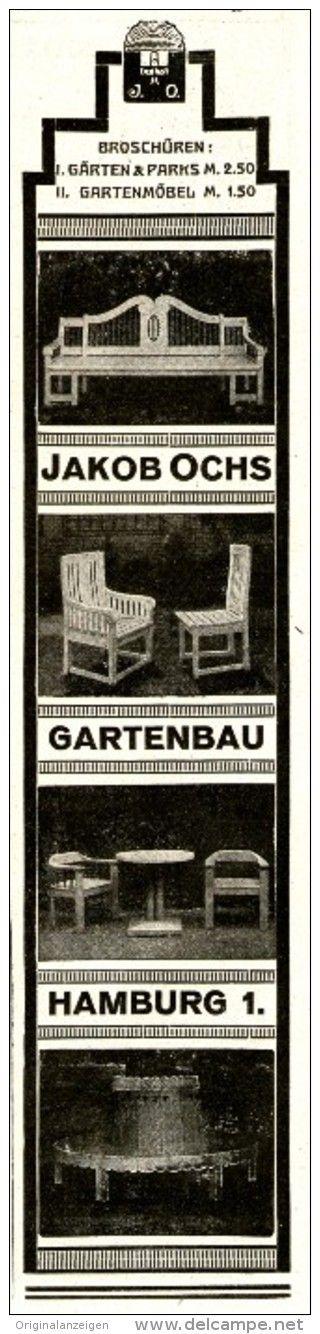 New Original Werbung Inserat Anzeige JAKOB OCHS GARTENBAU HAMBURG ca