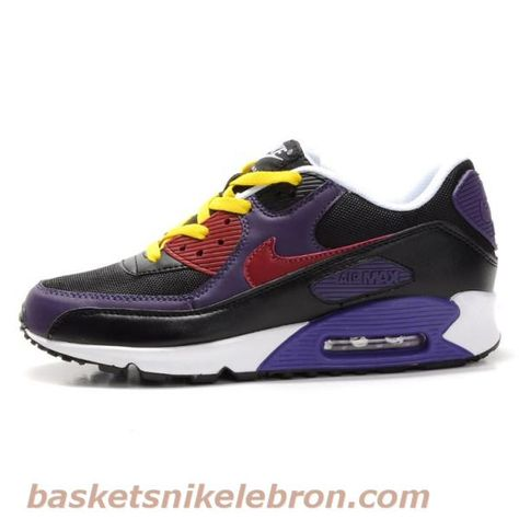 online store 6ddce f12a6 Chaussures Air Max Femme Nike Air Max 90 - amant noir  blanc  violet   jaune