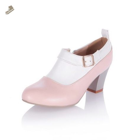 VogueZone009 Women's Assorted Colors Soft Material Pumps-Shoes with Chunky Heels, Zippers, Pink, 38 - Voguezone009 pumps for women (*Amazon Partner-Link)